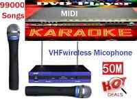 English Tagalog 99000 Karaoke Songs Midi Dvd Player & Vhf Wireless Microphone