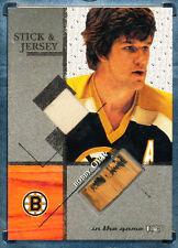 2003-04 ITG STICK & JERSEY BOBBY ORR /80 NICE WEAR ON THE STICK IN THE GAME