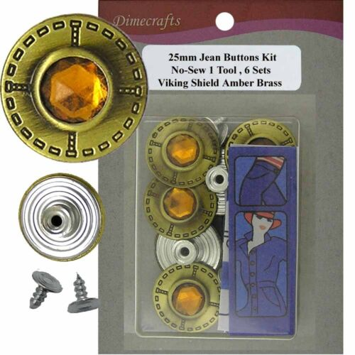 6 CT. 99BF6 25 mm No-Sew Replacement Jean Tack Buttons w//Tool