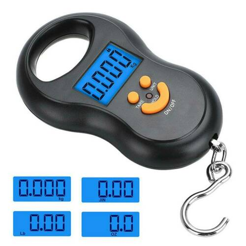 Digital Fish Scale Postal Hanging Hook Luggage Weight LCD Mini Portable 110 lb