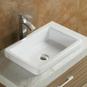Image Is Loading Vanitesse Ceramic Rectangular Drop In Bathroom Sink