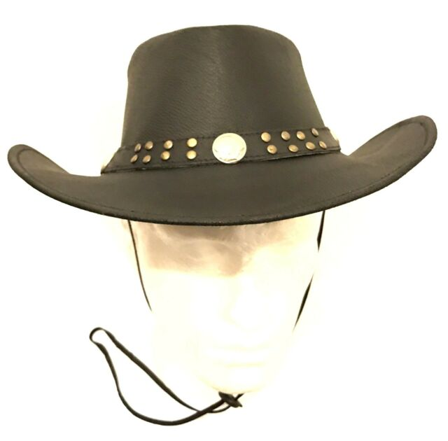 NEW LEATHER COWBOY WESTERN STYLE HAT BLACK WITH BUFFALO COINS