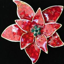 RHINESTONE RED ENAMEL CHRISTMAS POINSETTIA FLOWER PIN BROOCH PENDANT JEWELRY