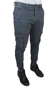 Fit uomo Grigio Slim Winter tasche Jeans Cargo Casual laterali con da Pantaloni UWA5waq8Y
