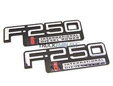 2 NEW PAIR CUSTOM CHROME 83-94 OBS FORD F250 INTERNATIONAL DIESEL BADGES SET