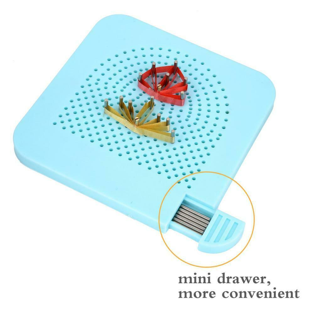 Carykon Roll Quillers Grid Guide Quilling Board with Pins Storage for Paper Crafting Winder Roll Square Craft DIY Tool Light Blue