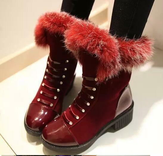 botas zapatos de mujer botas militares rojo caldi como piel cómodo 8228