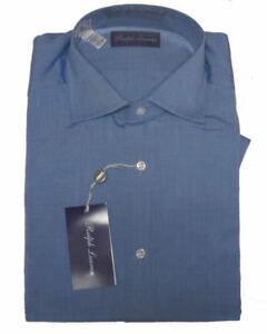 450-Ralph-Lauren-Purple-Label-Italy-Mens-Button-Down-Blue-Dress-Shirt-14-5-15