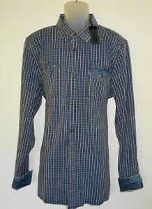 Buffalo-David-Bitton-L-S-Mens-Shirt-Size-XXL-Slim-Stretch-Blue-Mini-Check-NWT