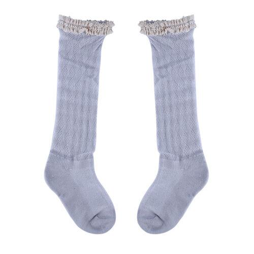 Toddler Kids Girls Autumn Winter Soft Knee High Cotton Lace Socks Dress Up S