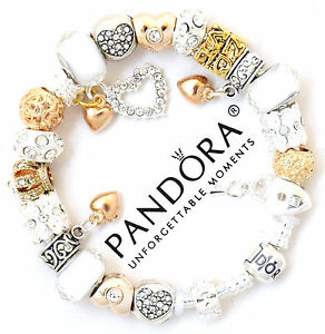 Image Is Loading Pandora Charm Bracelet Silver White Gold Hearts European