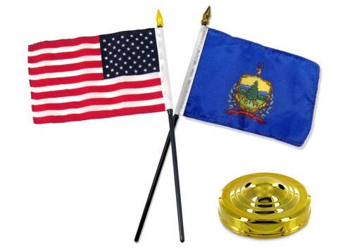 "Vermont State w// USA America American Flag 4/""x6/"" Desk Set Table Stick Gold Base"