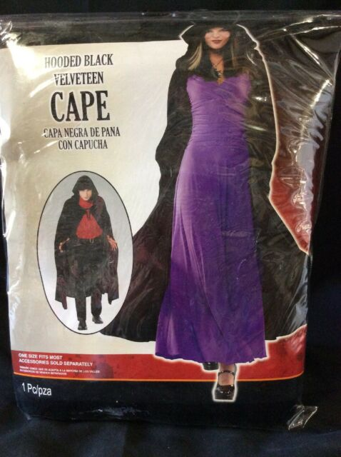 Rubies Hooded Black Velvet Cape Costume Renaissance Dracula Medieval Witch NEW