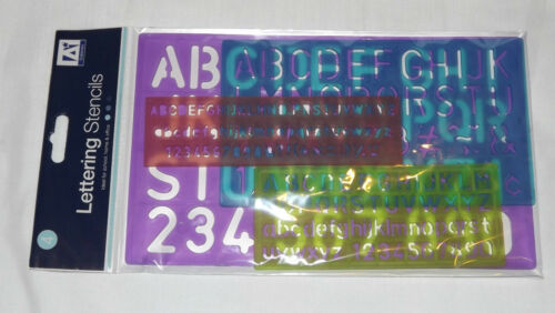 LETTERING STENCILS ALPHABET 4 DIFRINT SIZE IDEAL FOR SCHOOL HOME/&OFFICE