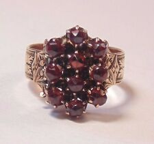 Victorian Art Deco 10k Solid Yellow Gold Red Garnet Cluster Etched Designs Ring