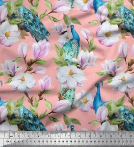 Soimoi-Fabric-Peacock-Leaves-amp-Magnolia-Floral-Fabric-Prints-By-Meter-FL-1290J