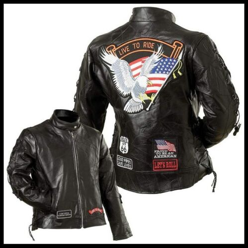 BLOUSON en Cuir Aigle / Live to ride FEMME { S à 3XL } biker country moto custom