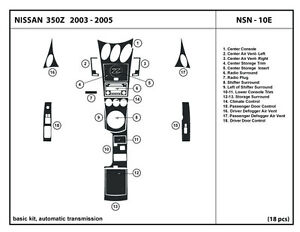 Real carbon fiber dash kit for 350z 03 05 automatic - 350z carbon fiber interior trim kit ...