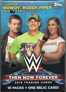 2018-Topps-WWE-Wrestling-Then-Now-Forever-Sealed-Blaster-Box-10-Packs-1-Relic