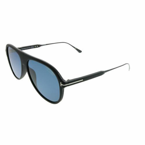 Tom Ford Nicholai TF 624 02D Matte Black Plastic Sunglasses Grey Polarized Lens