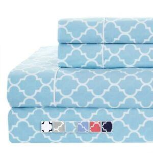 Flex Top Split King Sheets Printed Meridian 100 Cotton Head Split Sheet Set Ebay