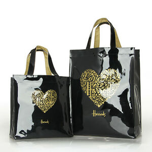 Image Is Loading Harrods Gold Heart Black Pvc Tote Bag Top