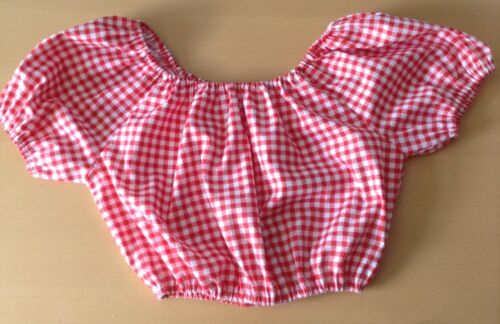 Red gingham off the shoulder cropped top