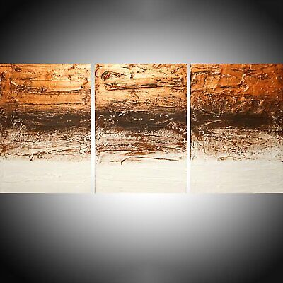 Large Floral Abstract Art Picture Brown Cream Canvas Wall Multi Panel Print