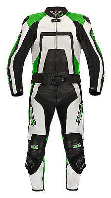 Lederkombi Zweiteiler von XLS Green Carbon zweiteilig schwarz weiß Kawasaki grün
