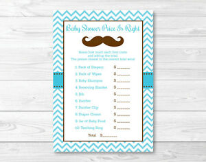 photo relating to Baby Shower Price is Right Printable named Information and facts concerning Very little Gentleman Mustache Chevron Printable Youngster Shower \