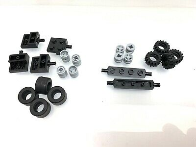 LEGO 4624 4600-8x DOUBLE Axle Pin Brick 2x2 GRIP Tyres /& Wheels
