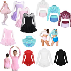 Girl-Lyrical-Ballet-Dance-Gymnastics-Tutu-Dress-Kids-Ice-Skating-Leotard-Costume