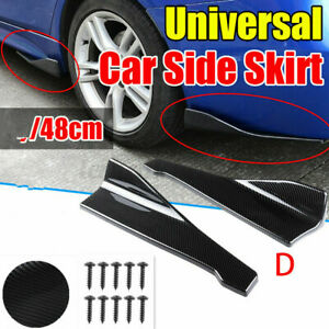 Carbon Fiber Style Universal Side Skirt Rear Bumper Lip Splitter Winglet Aprons