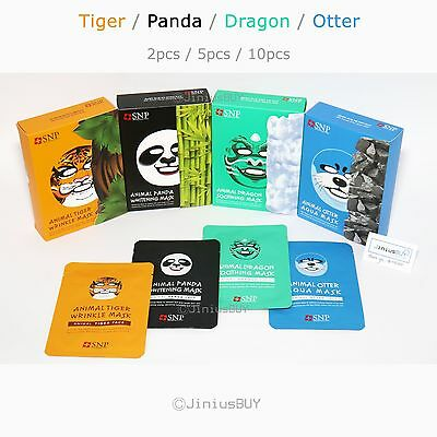 SNP Animal Facial Mask Sheet Tiger Panda Dragon Otter Coconut 0.8oz 2/ 5 / 10pcs