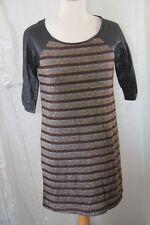 AKOZ - Robe Tunique rayé  brilant noir brun  argent doré tailleL  neuf