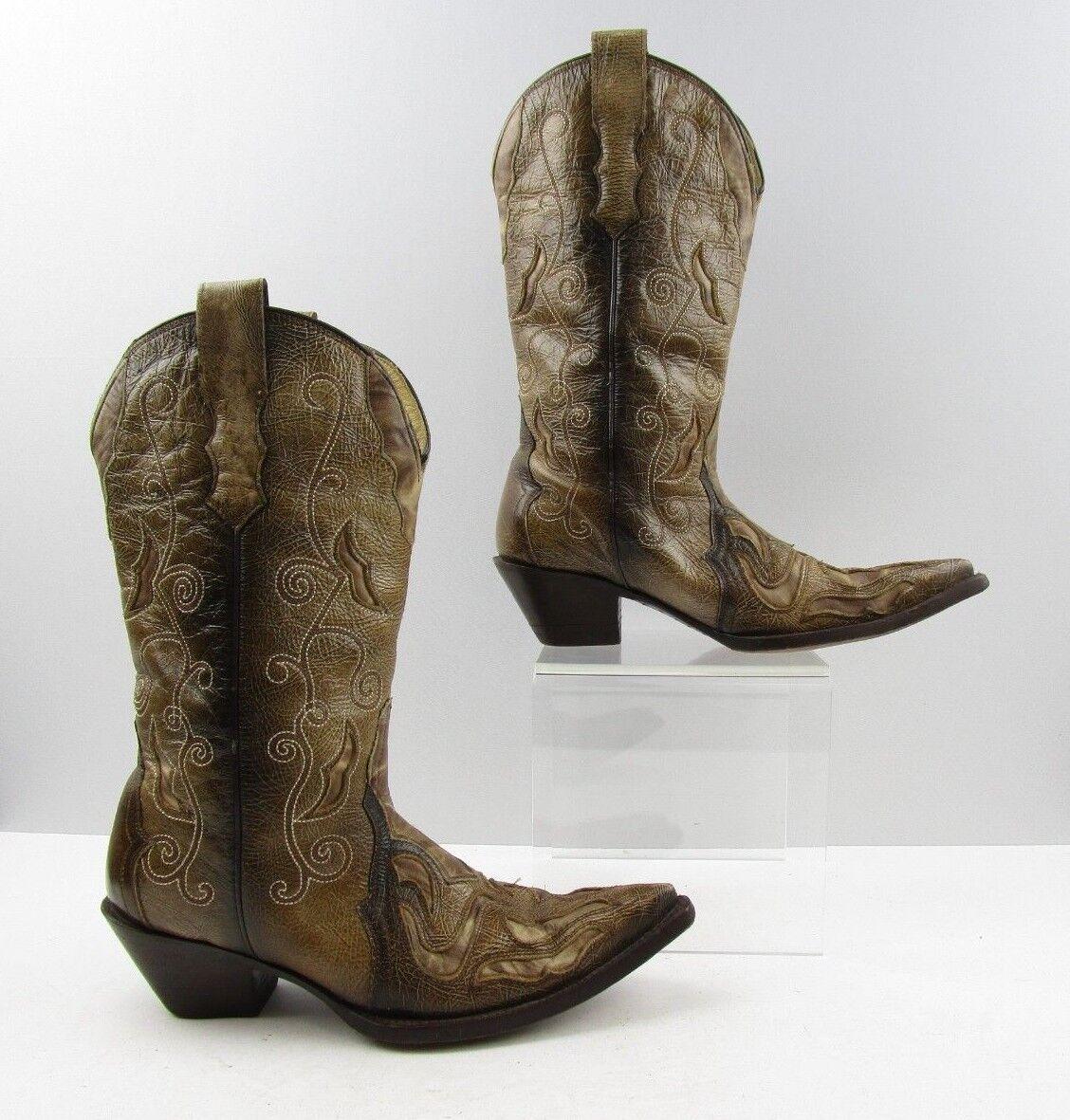 vendita outlet Ladies Corral Marrone Leather Pointed Pointed Pointed Toe Distressed Western stivali Dimensione  7 M  shopping online e negozio di moda