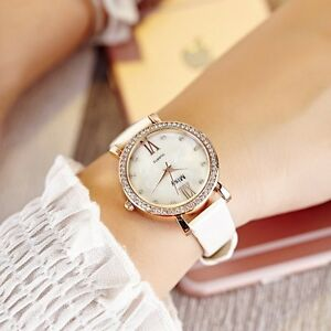 Faux-Leather-Black-White-Opal-Face-Women-039-s-Analog-Quartz-Casual-Wrist-Watches