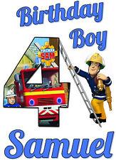 Fireman Sam Custom Tshirt Personalize birthday gift Tee infant, toddler, youth