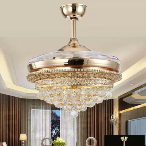 "42/"" Gold Crystal Invisible Ceiling Fan Lamp LED 3Color Remote Control Chandelier"