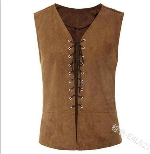 Vintage Mens Vest Lace-Up Tops Medieval Waistcost