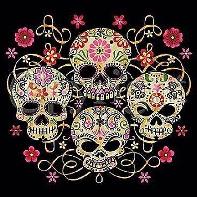 DEAD HEAD SKULL FLOWERS SKULLS LOVE KILLS RETRO HIPPY TATTOO SWEAT SHIRT BLACK