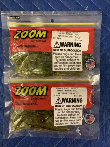 Lot Of 2 Packages ZOOM 042-141 BABY BRUSH HOG WTRMLN/GLD Sporting ...