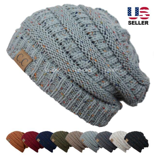 Sprinkles Knit Slouchy Baggy Beanie Oversize Winter Hat Ski Slouchy Cap Skull