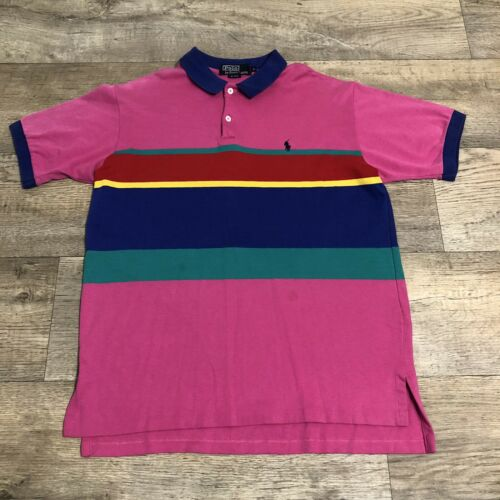 Vtg Ralph Lauren Polo Pink Striped Cotton Short S… - image 1