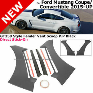 For 2015 2016 2017 Ford Mustang GT350 Style ABS Front Side Fender Door Scoops Panel Vent Guard Trim Black