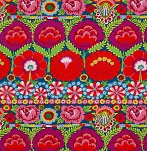 Free-Spirit-Kaffe-Fassett-Lge-Scale-Embroidered-Flower-Border-Orange-Red-BTY