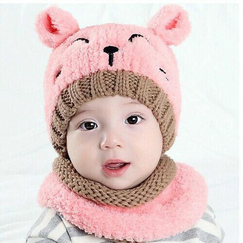 Casquette écharpe Ensemble Bébé Garçon Fille Ours chaud velours crochet tricot Bonnet Beanie Hiver BC