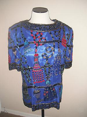 Vtg I Magnin Niteline Dell Roufogali 1994 HE-RO Blue Silk Sequin Tassle M Blouse