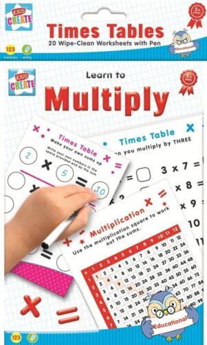 Apprendre à se multiplier Times Table x20 Nettoyage feuilles stylo mathématiques maths
