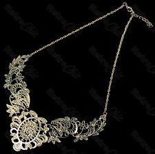 BIG ornate FILIGREE collar NECKLACE vintage brass BIB antique gold pltd lace